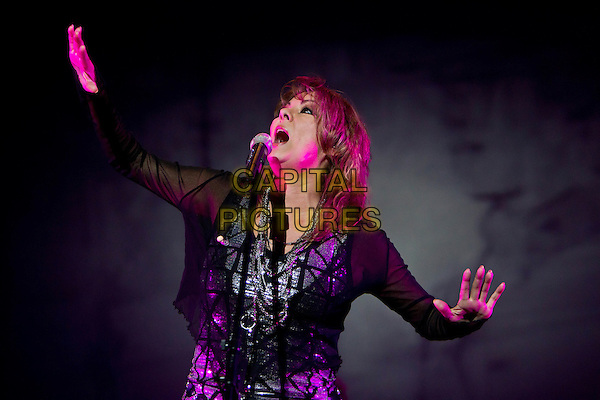Sandra (Sandra Ann Lauer).Concert in Moscow, Russia..October 11th, 2011.on stage live gig performance performing music half length black dress sheer singing silver print hands arms.CAP/PER/SB.©SB/PersonaStars/CapitalPictures