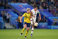 LE HAVRE, FRANCE - JUNE 20: Linda Sembrant #3, Carli Lloyd #10 during a 2019 FIFA Women's World Cup France group F match between the United States and Sweden at Stade Océane on June 20, 2019 in Le Havre, France.