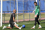 Getafe's Goalkeeping coach Javier Barbero (l) and Leandro Chichizola during training session. May 25,2020.(ALTERPHOTOS/Acero)