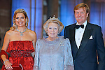 """QUEEN BEATRIX, CROWN PRINCE WILLEM-ALEXANDER AND CROWN PRINCESS MAXIMA.attend the gala farewell dinner for Queen Beatrix at the Rijksmuseum in Amsterdam, The Netherlands_April 29, 2013..Crown Prince Willem-Alexander and Crown Princess Maxima will be proclaimed King and Queen  of The Netherlands on the abdication of Queen Beatrix on 30th April 2013..Mandatory Credit Photos: ©NEWSPIX INTERNATIONAL..**ALL FEES PAYABLE TO: """"NEWSPIX INTERNATIONAL""""**..PHOTO CREDIT MANDATORY!!: NEWSPIX INTERNATIONAL(Failure to credit will incur a surcharge of 100% of reproduction fees)..IMMEDIATE CONFIRMATION OF USAGE REQUIRED:.Newspix International, 31 Chinnery Hill, Bishop's Stortford, ENGLAND CM23 3PS.Tel:+441279 324672  ; Fax: +441279656877.Mobile:  0777568 1153.e-mail: info@newspixinternational.co.uk"""