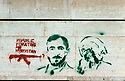 Iran 1979.Graffiti on a wall in Mahabad with portraits of Kurdish personalities