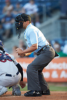 Home plate umpire Charlie Ramos works the International League game between the Scranton/Wilkes-Barre RailRiders and the Gwinnett Stripers at BB&T BallPark on August 16, 2019 in Lawrenceville, Georgia. The Stripers defeated the RailRiders 5-2. (Brian Westerholt/Four Seam Images)