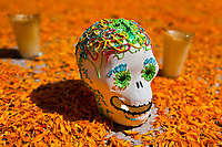 A decorated scull is placed at the altar of the dead (altar de muertos), a religious site honoring the deceased, during the Day of the Dead festival in Morelia, Michoacán, Mexico, 1 November 2014. Day of the Dead ('Día de Muertos') is a syncretic religious holiday, celebrated throughout Mexico, combining the death veneration rituals of the ancient Aztec culture with the Catholic practice. Based on the belief that the souls of the departed may come back to this world on that day, people gather on the gravesites praying, drinking and playing music, to joyfully remember friends or family members who have died and to support their souls on the spiritual journey.