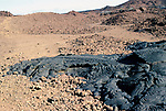 Pahoehoe Lava, Bartolome  Island, Galapagos Islands, basaltic, ropy surface, showing flow on ground
