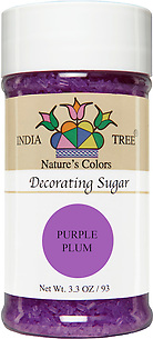 10256 Nature's Colors Purple Plum Decorating Sugar, Small Jar 3.3 oz, India Tree Storefront