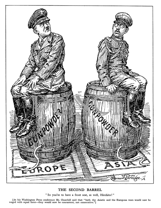 """The Second Barrel. """"So you're to have a front seat, as well, Hirohito!"""" [At his Washington Press conference Mr. Churchill said that """"both the Asiatic and the European wars would now be waged with equal force - they would now be concurrent, not consecutive.""""] (Hitler and emperor Hirohito sit on barrels of Gunpowder waiting to be lit in Europe and Asia)"""