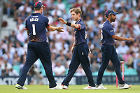 Adam Zampa of Essex celebrates with his team mates after taking the wicket of Aaron Finch during Surrey vs Essex Eagles, Vitality Blast T20 Cricket at the Kia Oval on 12th July 2018