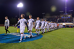 GREENSBORO, NC - DECEMBER 02: Messiah College and North Park University take the field before the Division III Men's Soccer Championship held at UNC Greensboro Soccer Stadium on December 2, 2017 in Greensboro, North Carolina. Messiah College defeated North Park University 2-1 to win the national title. (Photo by Grant Halverson/NCAA Photos via Getty Images)