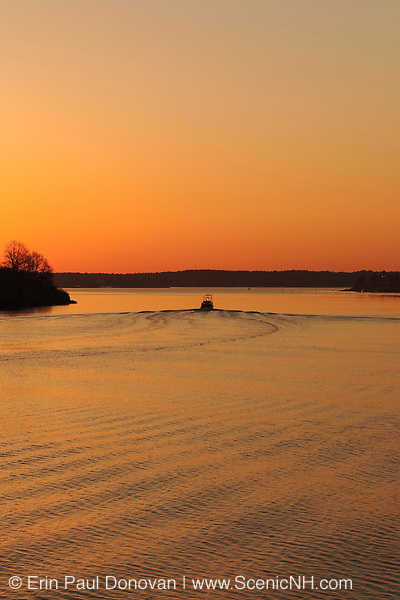 Sunrise over Portsmouth Harbor from Pierce Island in Portsmouth, New Hampshire USA during the month of April.