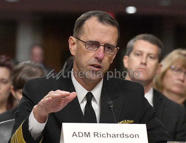 "Admiral John M. Richardson, USN, Chief Of Naval Operations, testifies before the US Senate Committee on Armed Services on ""Recent United States Navy Incidents at Sea"" on Capitol Hill in Washington, DC on Tuesday, September 19, 2017.  The hearing is investigating the two separate collisions with the USS Fitzgerald and USS John S. McCain that resulted in the loss of 17 US Sailors. Photo Credit: Ron Sachs/CNP/AdMedia"