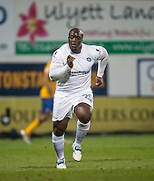 Adebayo Akinfenwa of Wycombe Wanderers during the The Checkatrade Trophy  Quarter Final match between Mansfield Town and Wycombe Wanderers at the One Call Stadium, Mansfield, England on 24 January 2017. Photo by Andy Rowland.
