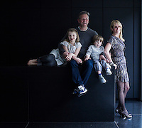 Architect Richard Found with his wife Jane Suitor and their children Olivia and Oscar in their minimal London kitchen