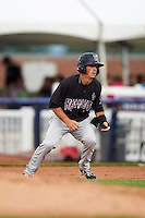 Wisconsin Timber Rattlers shortstop Blake Allemand (6) leads off first during the first game of a doubleheader against the Quad Cities River Bandits on August 19, 2015 at Modern Woodmen Park in Davenport, Iowa.  Quad Cities defeated Wisconsin 3-2.  (Mike Janes/Four Seam Images)
