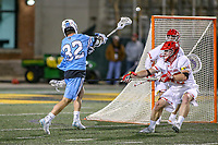 College Park, MD - April 27, 2019: John Hopkins Bluejays attack Joey Epstein (32) scores a goal during the game between John Hopkins and Maryland at  Capital One Field at Maryland Stadium in College Park, MD.  (Photo by Elliott Brown/Media Images International)