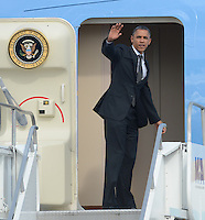MIAMI, FL - SEPTEMBER 20: US President Barack Obama departs on Air Force One at Miami International Airport.  The  President is in Florida to participate in a taping for Univision in Miami before attending a campaign event in Tampa.  on September 20, 2012 in Miami, Florida<br /> <br /> <br /> People:  President Barack Obama<br /> <br /> Transmission Ref:  FLXX<br /> <br /> Must call if interested<br /> Michael Storms<br /> Storms Media Group Inc.<br /> 305-632-3400 - Cell<br /> 305-513-5783 - Fax<br /> MikeStorm@aol.com