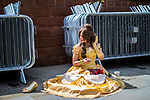 © Joel Goodman - 07973 332324. 30/07/2017 . Manchester , UK . A princess takes a break outside the venue . Cosplayers, families and guests at Comic Con at the Manchester Central Convention Centre . Photo credit : Joel Goodman