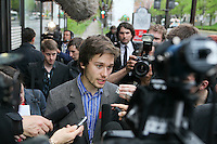 FECQ spokesperson Leo Bureau-Blouin speaks to medias before meeting with Quebec government in Quebec City Tuesday May 15, 2012.