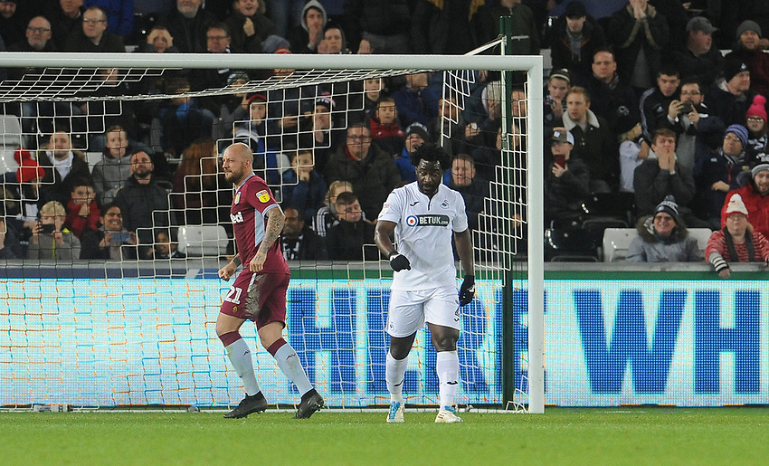 Swansea City's Wilfried Bony looks dejected after seeing his penalty saved <br /> <br /> Photographer Ian Cook/CameraSport<br /> <br /> The EFL Sky Bet Championship - Swansea City v Aston Villa - Wednesday 26th December 2018 - Liberty Stadium - Swansea<br /> <br /> World Copyright © 2018 CameraSport. All rights reserved. 43 Linden Ave. Countesthorpe. Leicester. England. LE8 5PG - Tel: +44 (0) 116 277 4147 - admin@camerasport.com - www.camerasport.com