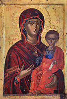 Icon of St Mary Hodigitria, Virgin and Child, 16th century, from the Cathedral of the Virgin Mary, now housed in the National Onufri Museum in the Cathedral of the Virgin Mary inside Berat Castle or Kalaja e Beratit, in Berat, South-Central Albania, capital of the District of Berat and the County of Berat. The cathedral was built in 1797 on the foundations of an older church and its museum is named after Onufri or Onouphrios of Neokastro, Albania's famous 16th century icon painter. The museum comprises the main nave, the altar area, and several rooms in the North and West of the church. Picture by Manuel Cohen