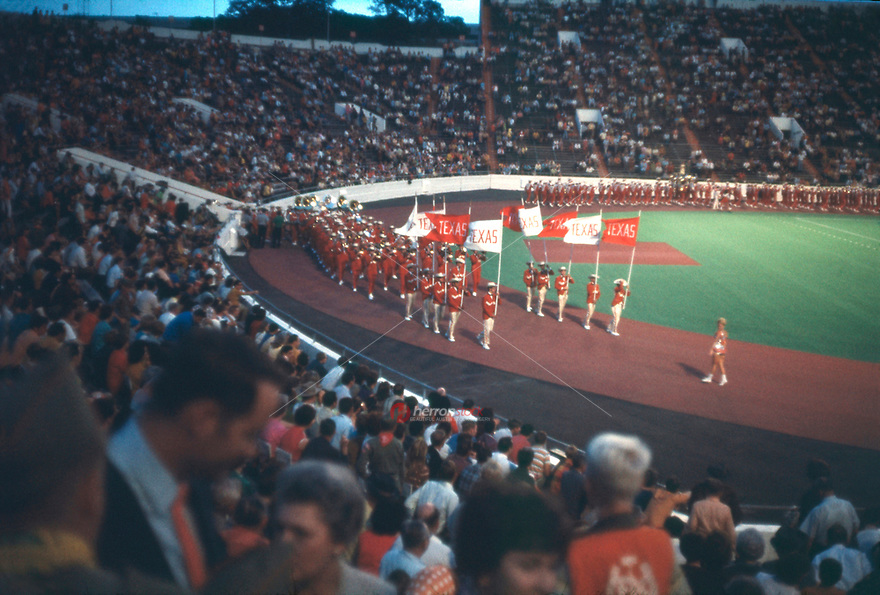 In this vintage 1969 photo, The University of Texas Longhorn Band performs before the Southwest Conference game at Darrell K. Royal-Texas Memorial Stadium in Austin, Texas