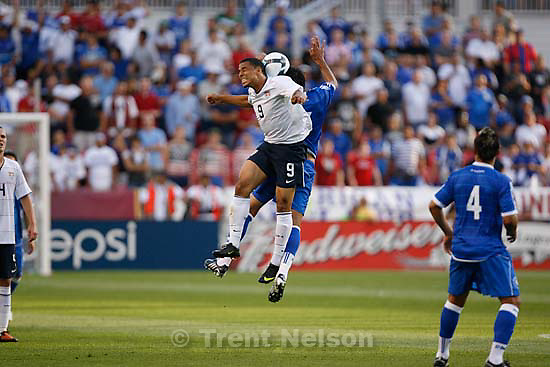 Sandy - USA forward Charlie Davies and El Salvador midfielder Ramon Sanchez leap for the ball. USA vs. El Salvadar FIFA World Cup Qualifier Soccer Saturday, September 5 2009 at Rio Tinto Stadium. .