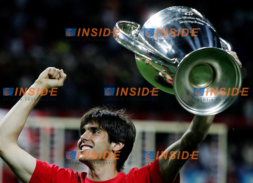 AC Milan midfielder Ricardo Kaka celebrates his Champions League at the San Siro stadium in Milan, 25 may 2007. AC Milan beat Liverpool 2-1 in the final match of the Champions League last Tuesday. Insidefoto / Paco SERINELLI