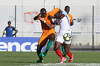 Ike Ugbo of England struggles to break free from his opponent during England Under-18 vs Ivory Coast Under-20, Toulon Tournament Final Football at Stade de Lattre-de-Tassigny on 10th June 2017