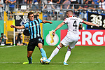 11.08.2019, Carl-Benz-Stadion, Mannheim, GER, DFB Pokal, 1. Runde, SV Waldhof Mannheim vs. Eintracht Frankfurt, <br /> <br /> DFL REGULATIONS PROHIBIT ANY USE OF PHOTOGRAPHS AS IMAGE SEQUENCES AND/OR QUASI-VIDEO.<br /> <br /> im Bild: Michael Schultz (SV Waldhof Mannheim #23) gegen Ante Rebic (Eintracht Frankfurt #4)<br /> <br /> Foto © nordphoto / Fabisch