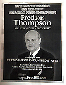 Cedar Rapids, IA - September 7, 2007 -- Photocopied flyer that is being handed-out in advance of Fred Thompson's campaign appearance in the Cedar Rapids Marriott, Cedar Rapids, Iowa on Friday, September 7, 2007..Credit: Ron Sachs / CNP.(RESTRICTION: No New York Metro or other Newspapers within a 75 mile radius of New York City)
