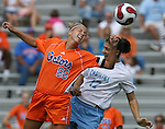Florida's Shelley Lyle (88) and North Carolina's Yael Averbuch (17) challenge for a header on Sunday September 17th, 2006 at Koskinen Stadium on the campus of the Duke University in Durham, North Carolina. The University of North Carolina Tarheels defeated the University of Florida Gators 1-0 in an NCAA Division I Women's Soccer game.