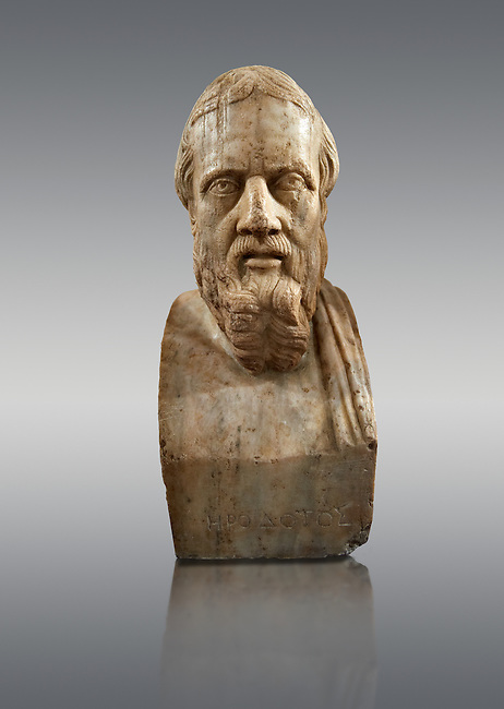 Roman marble sculpture bust of Herodotus, 3rd Century AD from an original early 4th century BC Hellanistic Greek original, inv 6146, Naples Museum of Archaeology, Italy