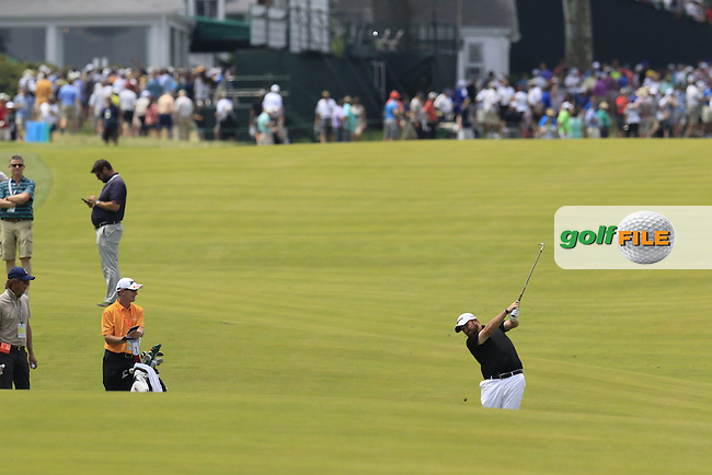 Shane Lowry (IRL) plays his 2nd shot on the 10th hole during Wednesday's Practice Day of the 2016 U.S. Open Championship held at Oakmont Country Club, Oakmont, Pittsburgh, Pennsylvania, United States of America. 15th June 2016.<br /> Picture: Eoin Clarke | Golffile<br /> <br /> <br /> All photos usage must carry mandatory copyright credit (&copy; Golffile | Eoin Clarke)