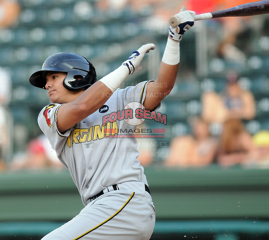 Outfielder Rogelio Noris (35) of the West Virginia Power, Class A affiliate of the Pittsburgh Pirates, at a game against the Greenville Drive May 2, 2010, at Fluor Field at the West End in Greenville, S.C. Photo by: Tom Priddy/Four Seam Images
