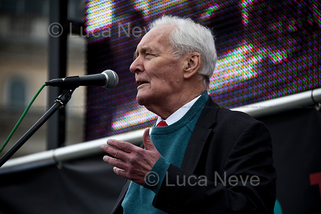 Tony Benn (former Labour Cabinet Minister and President of the Coalition of Resistance).<br /> <br /> London, 08/10/2011. Today Trafalgar Square was the stage of the &quot;Antiwar Mass Assembly&quot; organised by The Stop The War Coalition to mark the 10th Anniversary of the invasion of Afghanistan. Thousands of people gathered in the square to listen to speeches given by journalists, activists, politicians, trade union leaders, MPs, ex-soldiers, relatives and parents of soldiers and civilians killed during the conflict, and to see the performances of actors, musicians, writers, filmmakers and artists. The speakers, among others, included: Jeremy Corbin, Joe Glenton, Seumas Milne, Brian Eno, Sukri Sultan and Shadia Edwards-Dashti, Hetty Bower, Mark Cambell, Sanum Ghafoor, Andrew Murray, Lauren Booth, Kate Hudson, Sami Ramadani, Yvone Ridley, Mark Rylance, Dave Randall, Roger Lloyd-Pack, Rebecca Thorn, Sanasino al Yemen, Elvis McGonagall, Lowkey (Kareem Dennis), Tony Benn, John Hilary, Bruce Kent, John Pilger, Billy Hayes, Alison Louise Kennedy, Joan Humpheries, Jemima Khan, Julian Assange, Lindsey German, George Galloway. At the end of the speeches a group of protesters marched toward Downing Street where after a peaceful occupation the police made some arrests.