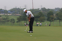 Anirban Lahiri (Asia) on the 1st green during the Saturday Foursomes of the Eurasia Cup at Glenmarie Golf and Country Club on the 13th January 2018.<br /> Picture:  Thos Caffrey / www.golffile.ie