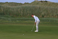 Robert Moran (Castle) on the 8th green during Round 2 of The East of Ireland Amateur Open Championship in Co. Louth Golf Club, Baltray on Sunday 2nd June 2019.<br /> <br /> Picture:  Thos Caffrey / www.golffile.ie<br /> <br /> All photos usage must carry mandatory copyright credit (© Golffile   Thos Caffrey)