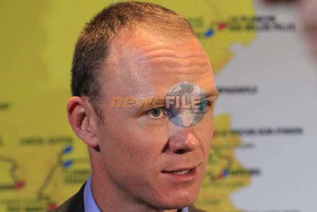 Chris Froome (GBR) speaks to the media at the Tour de France 2020 route presentation held in the Palais des Congrès de Paris (Porte Maillot), Paris, France. 15th October 2019.<br /> Picture: Eoin Clarke   Cyclefile<br /> <br /> All photos usage must carry mandatory copyright credit (© Cyclefile   Eoin Clarke)