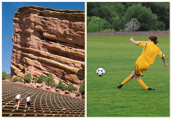 Women running at Red Rocks Amphitheater, girl playing soccer, Golden, Colorado.