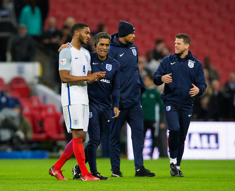 England's Joe Gomez is congratulated <br /> <br /> Photographer Craig Mercer/CameraSport<br /> <br /> The Bobby Moore Fund International - England v Brazil - Tuesday 14th November 2017 Wembley Stadium - London  <br /> <br /> World Copyright &copy; 2017 CameraSport. All rights reserved. 43 Linden Ave. Countesthorpe. Leicester. England. LE8 5PG - Tel: +44 (0) 116 277 4147 - admin@camerasport.com - www.camerasport.com