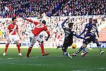 Albert Adomah of Middlesbrough strikes at goal - Middlesbrough vs. Leeds United - Skybet Championship - Riverside Stadium - Middlesbrough - 21/02/2015 Pic Philip Oldham/Sportimage