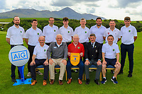 The Roscommon Team, winners of the AIG Jimmy Bruen Shield Connacht Pennant during the AIG Cups & Shields Connacht Finals 2019 in Westport Golf Club, Westport, Co. Mayo on Sunday 11th August 2019.<br /> <br /> Back Row: Shane McConn, Jack Sharkey, David Farrell, Fionn Hoare, Sean McGahon, Francie Grehan, Matt Farrell and Kevin Connaughton.<br /> Front Row: John Walker, Brendan McKenna (Sponsor: AIG), Tom Judge (Team Captain), Niall MacSweeney (Hon Treasurer Connacht Branch) and John McHale.<br /> <br /> Picture:  Thos Caffrey / www.golffile.ie<br /> <br /> All photos usage must carry mandatory copyright credit (© Golffile | Thos Caffrey)