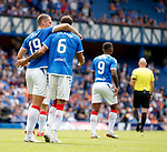 14.07.2019: Rangers v Marseille: Nikola Katic and Connor Goldson after goal no 3