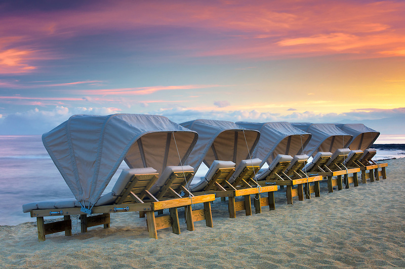 Beach chairs at the Four Seasons Resort. Hawaii, The Big Island.