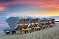 Beach chairs at the Four Seasons Resort. Hawaii, The Big Island.