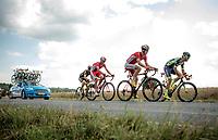 breakaway group taking more then 7 minutes over the peloton: Guillaume Van Keirsbulck (BEL/Wanty-Groupe Gobert), Dimitri Claeys (BEL/Cofidis), J&eacute;r&ocirc;me Cousin (FRA/Direct Energie) &amp; Anthony Perez (FRA/Cofidis)<br /> <br /> Stage 4: La Baule &gt; Sarzeau (192km)<br /> <br /> 105th Tour de France 2018<br /> &copy;kramon