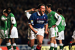 1998, ALLY MCCOIST CELEBRATES SCORING FOR RANGERS AGAINST HIBS AT IBROX STADIUM, ROB CASEY PHOTOGRAPHY.