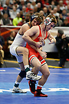 CLEVELAND, OH - MARCH 16: Luke Pletcher, of Ohio State, wrestles Stevan Micic, of Michigan, in the 133 weight class during the Division I Men's Wrestling Championship held at Quicken Loans Arena on March 16, 2018 in Cleveland, Ohio. (Photo by Jay LaPrete/NCAA Photos via Getty Images)