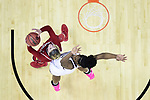 COLUMBUS, OH - MARCH 30: Sam Fuehring #3 of the Louisville Cardinals  tries to shoot over Teaira McCowan #15 of the Mississippi State Bulldogs during a semifinal game of the 2018 NCAA Division I Women's Basketball Final Four at Nationwide Arena in Columbus, Ohio. (Photo by Ben Solomon/NCAA Photos via Getty Images)