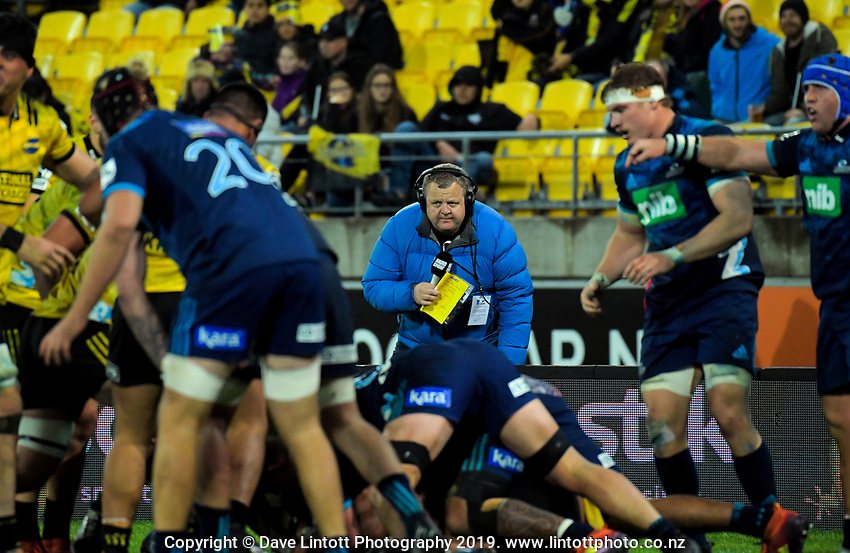 Radiosport commentator Matt Buck during the Super Rugby match between the Hurricanes and Blues at Westpac Stadium in Wellington, New Zealand on Saturday, 15 June 2019. Photo: Dave Lintott / lintottphoto.co.nz