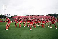 Tonga perform the Haka.<br /> England v Tonga, Semi-Final, Rugby League World Cup 2017. RLWC2017. Mt Smart Stadium, Auckland New Zealand. Saturday 25 November 2017 © Copyright Photo: NRL Photos MANDATORY BYLINE/CREDIT : Andrew Cornaga/SWpix.com/PhotosportNZ